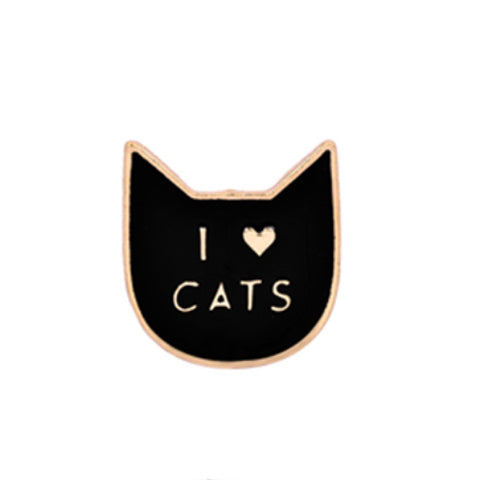 """I Love Cats"" Brooch Pin Badge - Black Enamel"