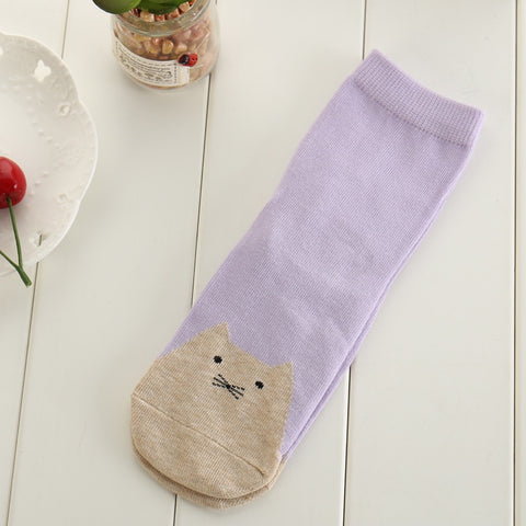 Ladies Cotton Cat Socks - Catty Toes!