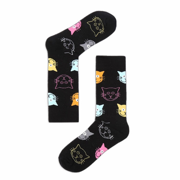 Ladies Cotton Cat Socks - Cat Faces (4 Options)
