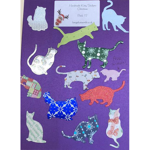 Handmade Kitty Stickers - Christmas