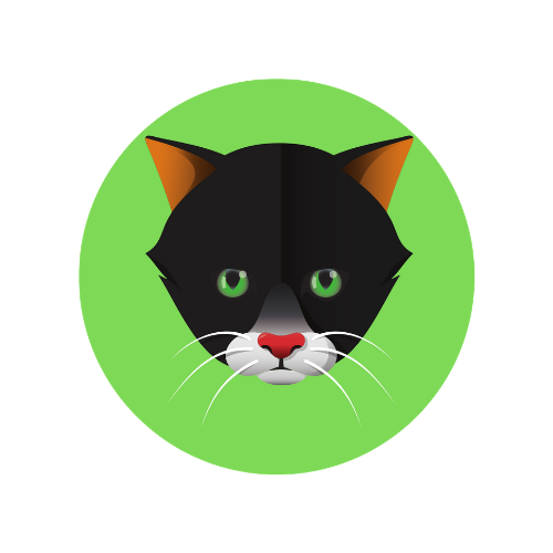Exclusive Design! 2.5mm Cat Badge - Green Eyes