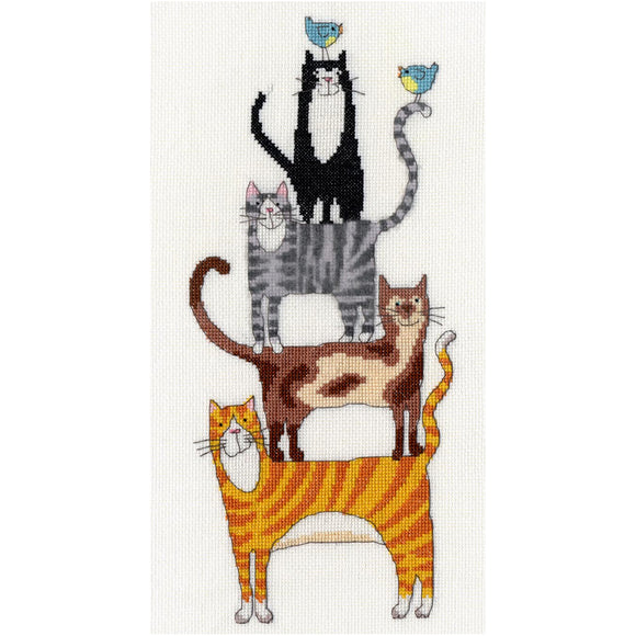 Cross Stitch Kit - Cat Stack, 18cm x 34cm