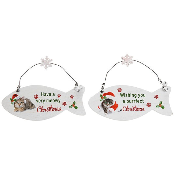 Santa Paws Christmas Fish Plaque Cat