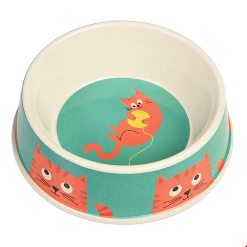 Chester the Cat Bamboo Cat Food Bowl