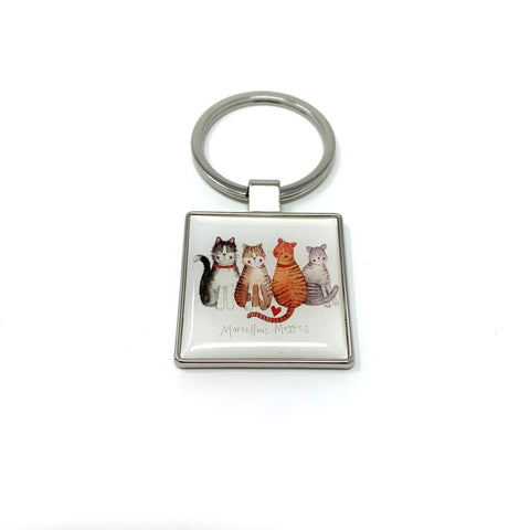Alex Clark Square Keyring - Marvellous Moggies