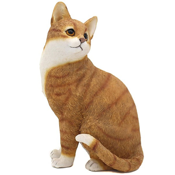 Ceramic Sitting Cat Ornament Ginger & White