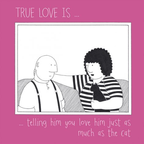 True Love with Fred Black Cat Greetings Card