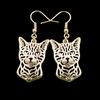 Bengal Cat Drop Earrings Silver Colour