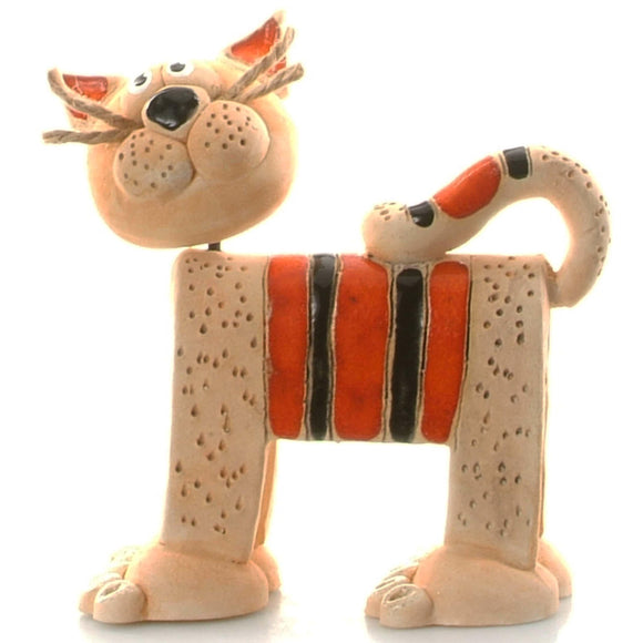 Unique Handmade Ceramic Stripey Cat - Ginger