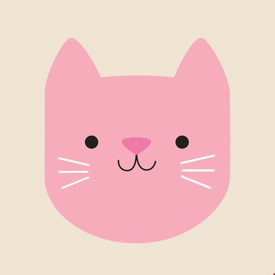 Cookie the Cat Blank Greetings Card (Pink)