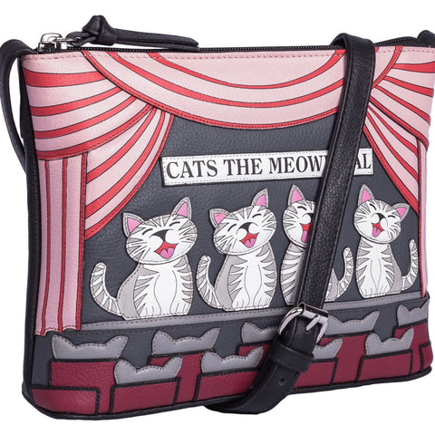 Mala Leather Cats the Meowsical Handbag