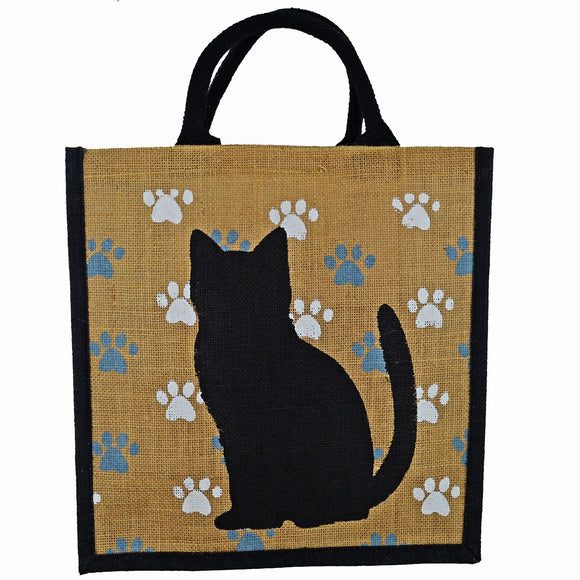 Black Cat / Paws Jute Shopping Bag