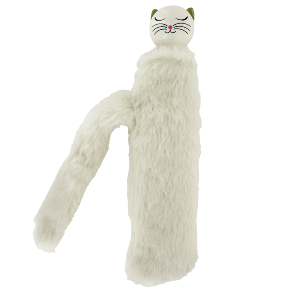 Telescopic Kitty Umbrella with Furry Case - Cream