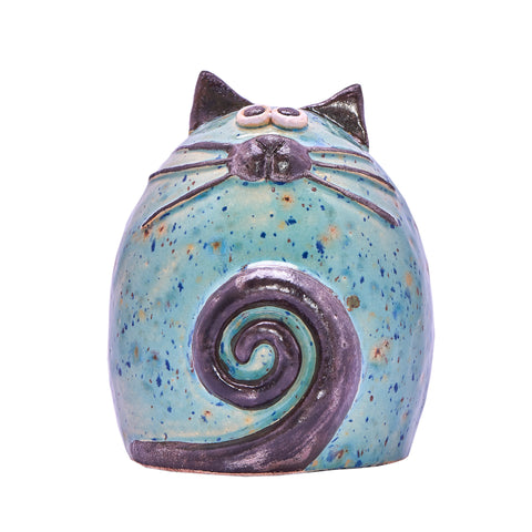 Unique Handmade Ceramic Fat Cat - Mint