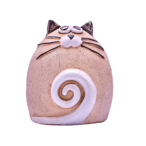 Unique Handmade Ceramic Fat Cat - Natural