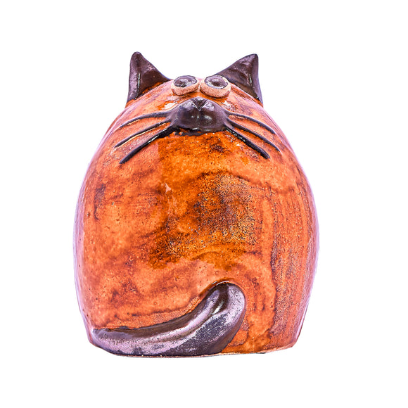 Unique Handmade Ceramic Fat Cat - Ginger