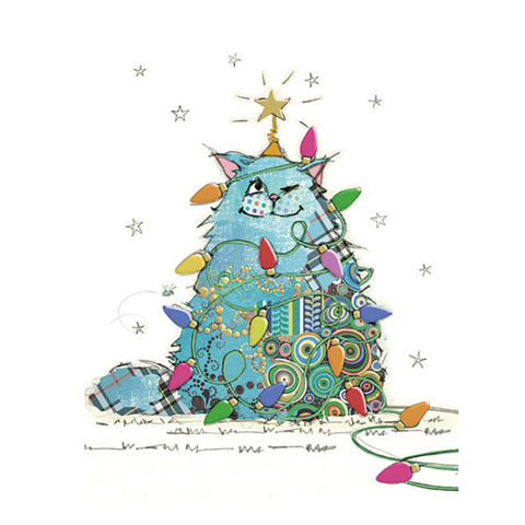 Bug Art Christmas Card - Cat Tree (Single)
