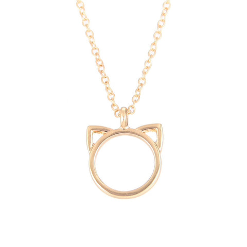 Elegant Cat Head Necklace - Gold Colour