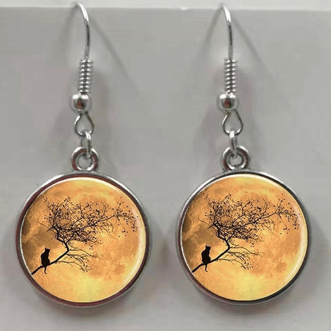 Pendant Dangle Earrings - Cat on Branch at Sunrise