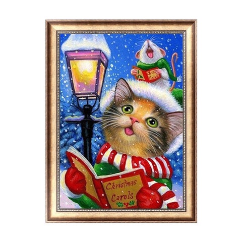 5D Diamond Painting Kit - Cat Carol Singer
