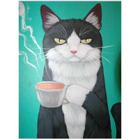 5D Diamond Painting Kit - Time for Tea Cat, Blue/Green