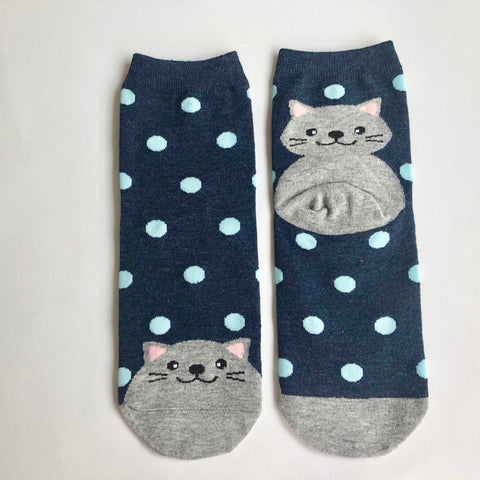 Ladies Cotton Cat Socks - Blue Spotty