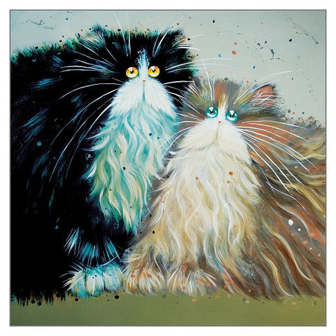 Kim Haskins Cat Greetings Card - Bob and Babs