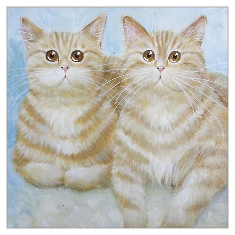Kim Haskins Cat Greetings Card - Felix and Oscar