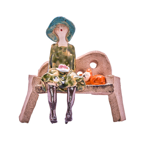 Unique Handmade Ceramic Lady & Cat on Bench - Green