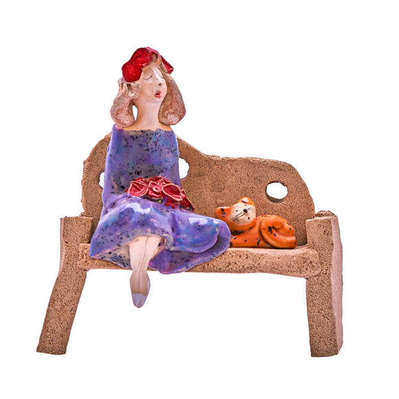 Unique Handmade Ceramic Lady & Cat on Bench - Purple