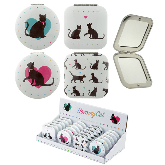 I Love My Cat Cute Compact Mirror - 4 Designs