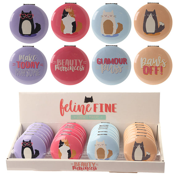Fun Feline Fine Cat Compact Mirror - 4 Options