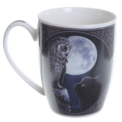 Lisa Parker Purrfect Wisdom Owl and Cat Porcelain Mug