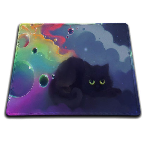 Kitty Cat Mouse Mat - Black Cat / Clouds & Bubbles