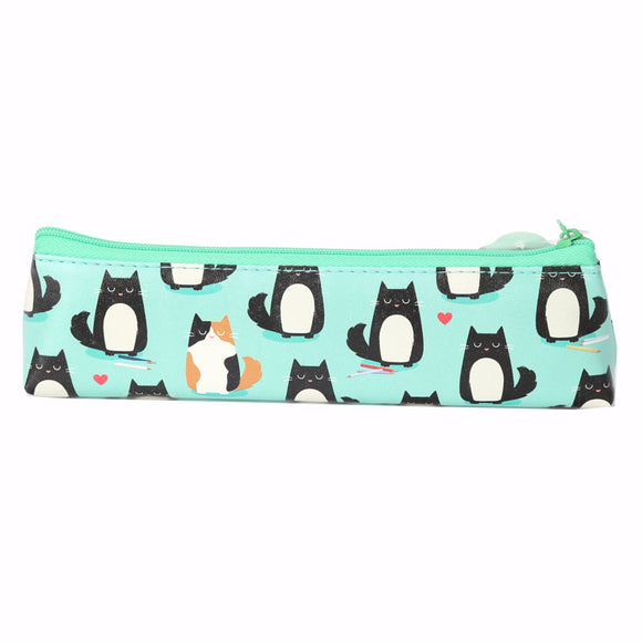 Feline Fine Cat Pencil Case - Green