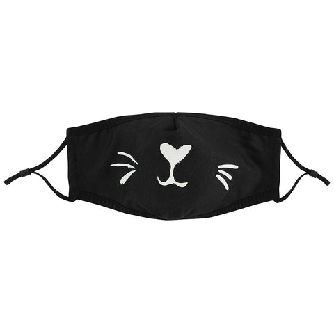 Reusable Cute Black Cat Face Covering - Adult