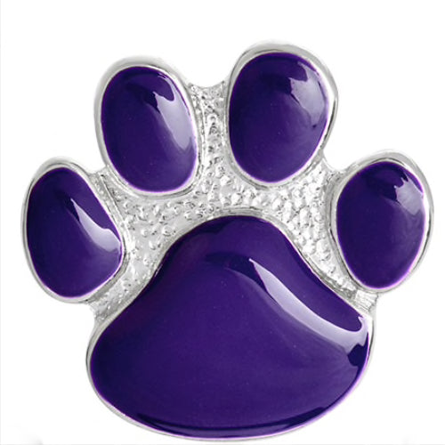 Purple & Silver Coloured Paw Brooch / Pin Badge