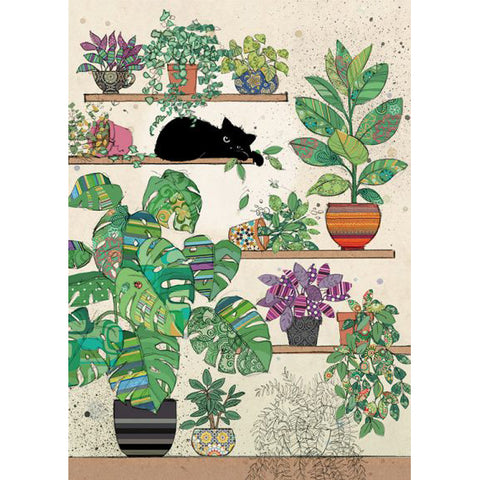 Bug Art Luxury Greetings Card - Plants Kitty