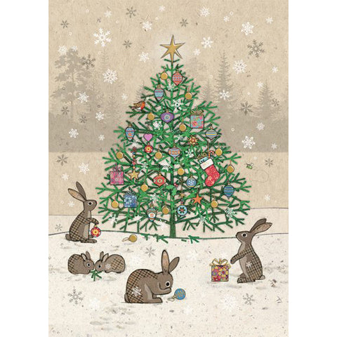Bug Art Christmas Card - Rabbits Tree (Single)