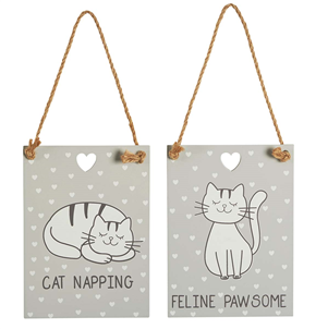 Cute Cat Hanging Plaques - Choice of Two