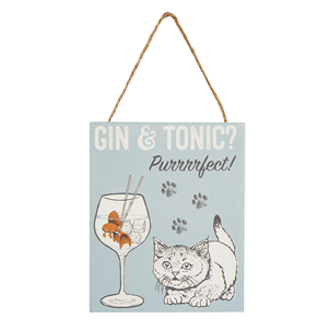 Purrfect Gin & Tonic Cat Hanging Plaque