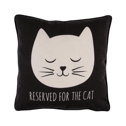 Sass & Belle 'Reserved for the Cat' Cushion (Black)