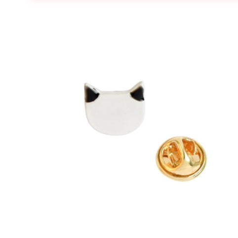 White Cat Face/Black Ears Enamel Pin Badge