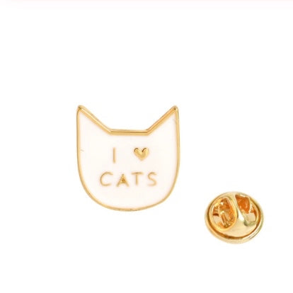 """I Love Cats"" Brooch Pin Badge - White Enamel"