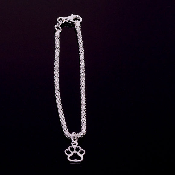 Sterling Silver Paw Charm Bracelet