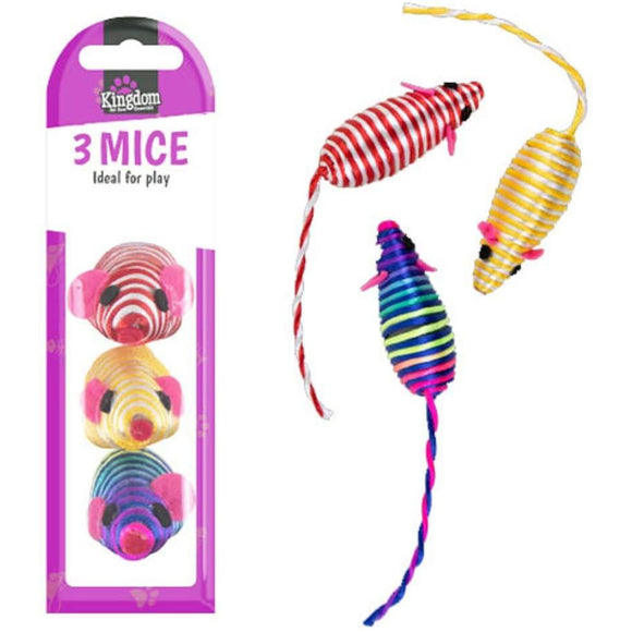 Pack of 3 Stringy Mice Cat Kitten Toy