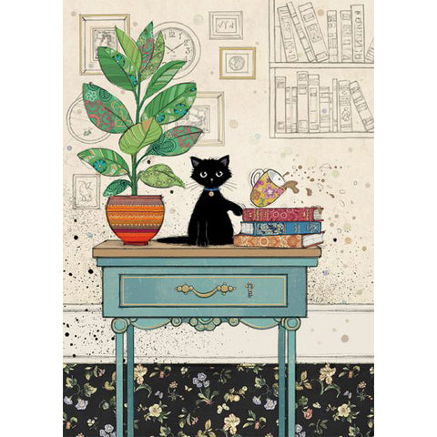 Bug Art Luxury Greetings Card - Table Kitty