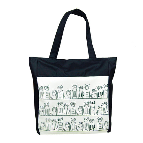 Cute Cats Large Canvas Shopping Bag - Black