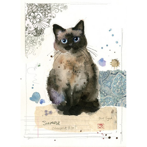 Bug Art Luxury Greetings Card - Siamese Cat