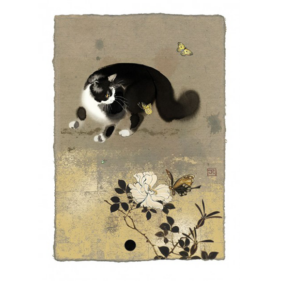 Bug Art Luxury Greetings Card - Cat and Butterflies